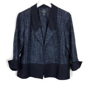 Adrianna Papell | Navy Tweed Sparkle Blazer | 12